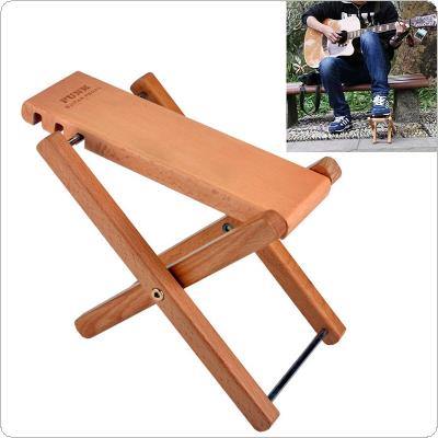 Solid Wood Folding Guitar Pedal Footstool with 3 Levels Height Adjustable Stand Footboard