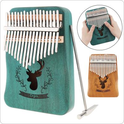 17 Key Mahogany Kalimba Single Board Reindeer Sound Hole Thumb Piano Mini Keyboard Instrument with Circular Edge Hand Rest
