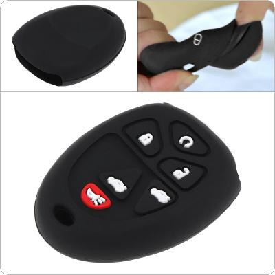 6 Buttons Silicone Straight Plate Car Key Case Protector Holder Fit for Cadillac Escalade / Chevrolet  / GMC Yukon 2007 - 2014