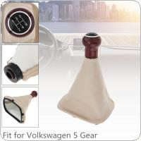 5 Speed Wood + PU Leather Car Manual Gear Shift Handball Knob with Dust Cover Fit for  Volkswagen VW Passat B5 / Golf / JETTA 1999-2004