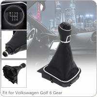 6 Speed ABS + PU Leather  Car Manual Gear Shift Handball Knob Car Accessories with Dust Cover Fit for Volkswagen VW  Golf 5 6 / 6 Gear Models