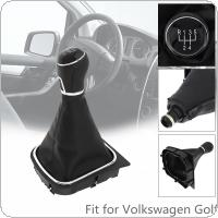 5 Speed ABS + PU Leather  Car Manual Gear Shift Handball Knob Car Accessories with Dust Cover Fit for Volkswagen VW  Golf 5 6 / 5 Gear Models