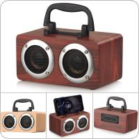 6W Yellow / Red Wood Grain Portable Retro Bluetooth Speaker with Mobile Phone Holder Support TF Card / AUX Playback Function for Suburban Camping / Dancing