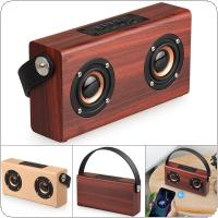 6W Yellow / Red Wood Grain Portable Retro Bluetooth Speaker Support TF Card / AUX Playback Function for Suburban Camping / Dancing / Yoga