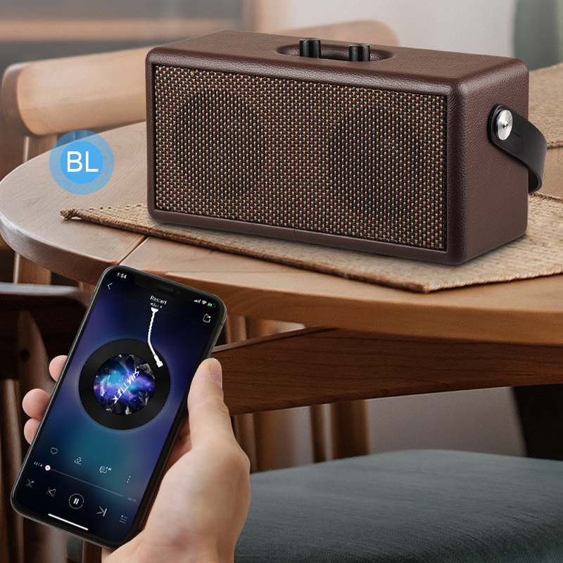 16W Vintage Brown and Black Color Bluetooth Speaker Portable & Retro Wood Design Stereo Sound for Suburban Camping / Dancing / Yoga / Indoor / Outdoor