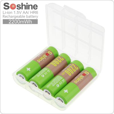 Soshine 4pcs 2200mAh HR6 Li-ion 1.5V Rechargeable AA Battery with Portable Battery Box for Game Handle / Alarm / Clock / Toy
