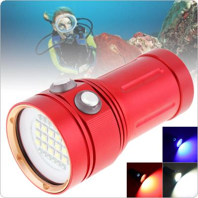 Red Professional Diving Light Underwater 100m Scuba Video Light 150W 8000LM 15 XML2 + 6 Red + 6 Blue LED Photography Video Dive Flashlight Lamp