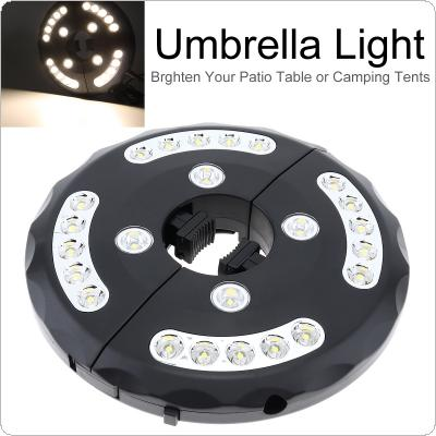2400 lumens  4 x AA Battery Operated Warm White Patio Umbrella Light Cordless 24 LED Lights Umbrella Pole Light with 3 Brightness Modes for Camping Tents