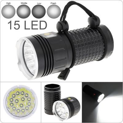 Power Display 15 x T6 LED 8000 Lumens Waterproof IP65 Aluminium Alloy Flashlight with 4 Modes Light and DC USB Cable