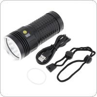 Power Display 12 x T6 LED 8000 Lumens Waterproof IP65 Aluminium Alloy Flashlight with 4 Modes Light and DC USB Cable