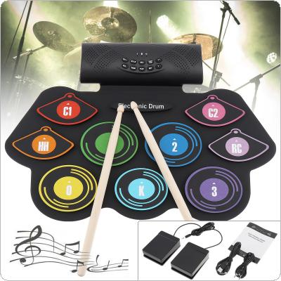 9 Pads Electronic Roll up Silicone Drum Double Speakers Stereo Electric Drum Kit Support USB MIDI with Drumsticks and Sustain Pedal