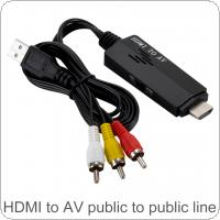 Long 1080P HDMI to AV RCA HD Converter Adapter Cable for Individuals / Families