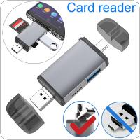 USB 2.0 TypeC  6-in-1 OTG Card Reader USB + TF + SD SDHC SDXC Fit for Macbook / Mobile Phones