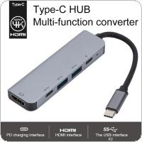 5 in1 USBC HUB HDMI 30HZ RJ45 Ethernet Micro SDTF OTG Adapter + USB3.0 x 2 + PD Charging Fit for Macbook
