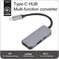 3 in 1 USBC HUB to HDMI RJ45 Ethernet Micro SDTF OTG Adapter + USB 3.0 + PD Charging