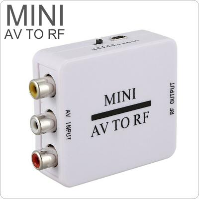 480P Mini HD Video Converter Box RCA AV CVSB to RF Video Adapter Converter for RF 67.25Mhz 61.25Mhz AV to RF Scaler TV Switcher
