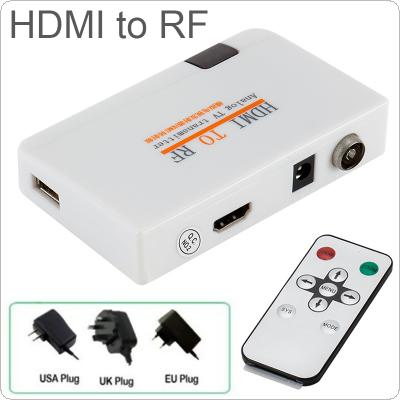 1080P Input HDMI to RF Coaxial Converter Box with Remote Control Support Plug and Play for HDTV Monitor / Projector / Multimedia Teaching