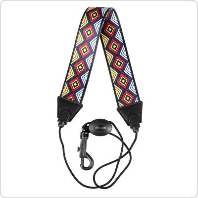 Black Edged Diamond Pattern Polyester Saxophone Neck Strap Colorful Shoulder Strap for Alto Saxophone / Soprano Saxophone / Tenor Saxophone