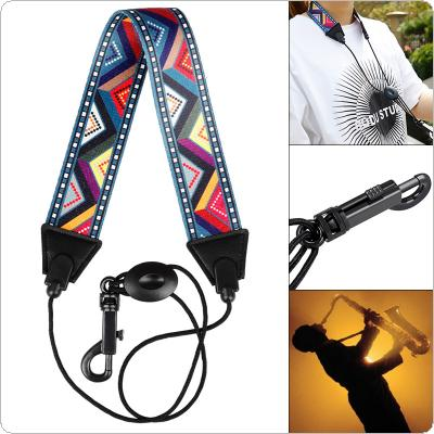 Colored Diagonal Pattern Polyester Saxophone Neck Strap Shoulder Strap for Alto / Soprano / Tenor Saxophone