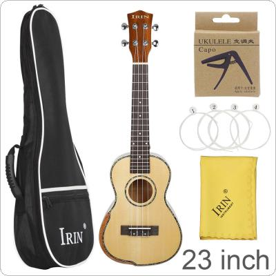 23 Inch Veneer Spruce Wood Ukulele Hawaiian Small Guitar Bevel Design with Gig Bag Capo Strings Cleaning Cloth