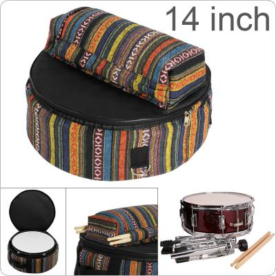 14 Inch Folk Style Knitted Colorful Oxford Cloth Add Cotton Snare Drum Backpack with Drumsticks Stand Pocket