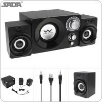SADA S-20 2.1 Mini Black 11W Wooden Subwoofer Portable Music USB Computer Speaker with 3.5mm Audio Plug for Desktop / TV / PC / Smartphone
