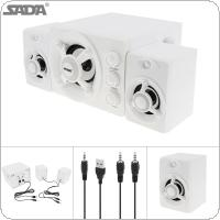SADA D-208 2.1 Mini White 3W Wooden 3D Surround Sound Subwoofer Music USB Computer Speaker with Luminescent Multicoloured Lamp for Desktop TV PC Smartphone