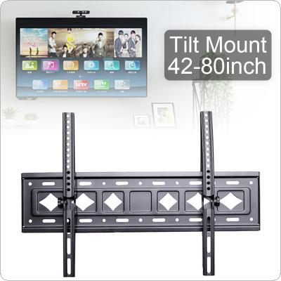 C53 Double Load-bearing 75KG Adjustable TV Wall Mount Bracket Flat Panel TV Frame Support 15 Degrees Tilt with Level for 42- 80 Inch LED Monitor