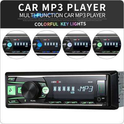 1 Din Car Radio Multimedia Voice Control  Bluetooth Player 7 Color Light Front Detachable Panel Compatible with Mobile APP Navigation