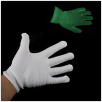 Photoluminescent Noctilucence Green Light Glow Cloth Gloves Sets - White Color