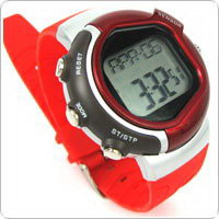 Red Heart Rate Monitor Watch Waterproof to 50 Meters