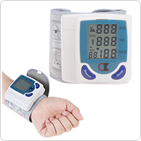 LCD Digital Wrist Blood Pressure Monitor & Heart Beat Meter with 60 Memories