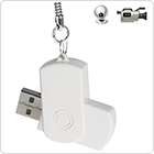 White U-Disk Ultra HD Mini Spy DV Digital Camera 360 Degree Rotate