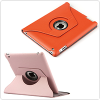 Pink / Orange 3 Stand Positions Leather Case for iPad with 360-Degree Swivel