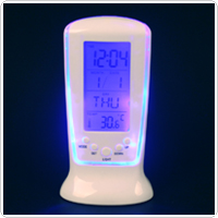 Square Clock 510 Digital Alarm Clock with Music & Thermometer & Snooze Function