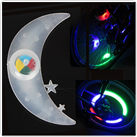 Moon & Star Stylish Silicone Bike Lamp Bicycle Wheel Wire Colorful LED Light