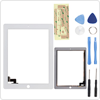 238 x 183mm White Touch Screen Glass Digitizer Replacement for iPad 2 + Tools