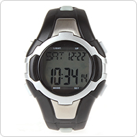 Black + Silver Multi-functional Plastic Strap Sports Watch