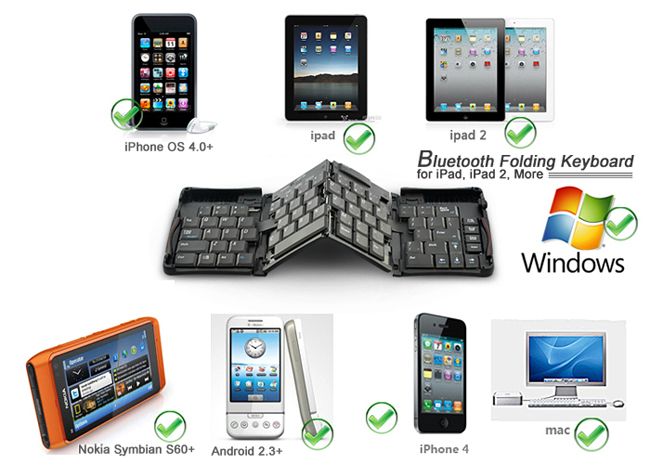 Folding Wireless Bluetooth 2.0 Keyboard for iPad + iPhone + Android Phones
