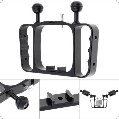 Diving Dual Hand-held CNC Aluminum Photography Bracket Fit for GoPro Hero 7 6 5 Action Camera Diving Accessories / Diving Flashlight