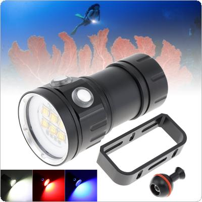300W Six 9090 White XML2 + Four XPE Red R5 + Four XPE Blue R5 LED Underwater 100m Scuba Diving Light with Spherical Bracket for Photography Fill Light