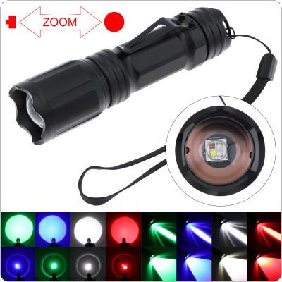 X004 4 Colors in 1 Red Green Blue White Light LED Tactical Flashlight Waterproof Zoomable for Camping / Hiking / Hunting / Fishing / Backpacking