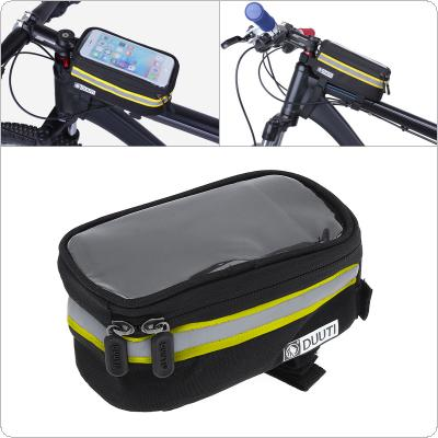 DUUTI Bicycle Handlebar Bag 3.5-6.5inch Touchscreen Phone Mount Holder MTB Road Bike Front Frame Bag with Waterproof